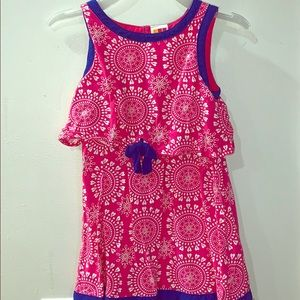 Girls pink and white dress with blue trim